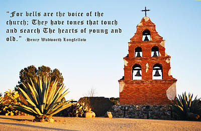 San Miguel Mission Bells Longfellow Quote Art Print