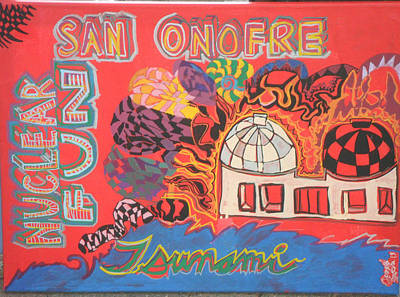 Old Man And The Sea Painting - San Onofre Nuclear Fun by Howard Yosha