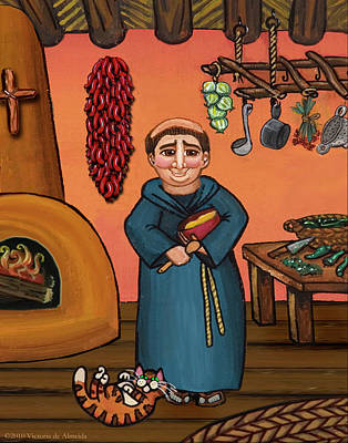 Saint Of Cooks Painting - San Pascual And Vigas by Victoria De Almeida