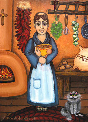 Saint Of Cooks Painting - San Pascual Bad Kitty by Victoria De Almeida