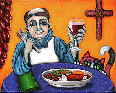 Saint Of Cooks Painting - San Pascual Cheers by Victoria De Almeida
