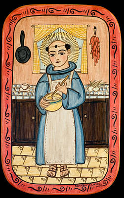 Saint Of Cooks Painting - San Pascual by Ellen Chavez de Leitner