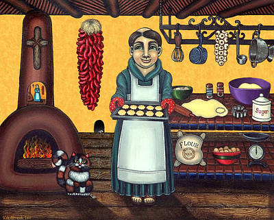 Saint Of Cooks Painting - San Pascual Making Biscochitos by Victoria De Almeida