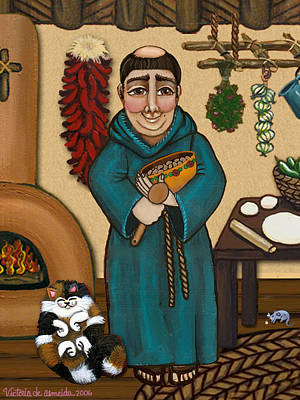 Saint Of Cooks Painting - San Pascual by Victoria De Almeida