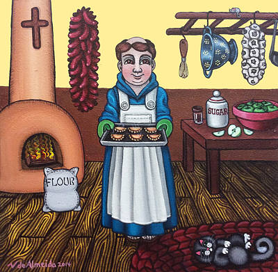 Saint Of Cooks Painting - San Pascuals Empanaditas by Victoria De Almeida