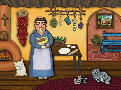 Saint Of Cooks Painting - San Pascuals Kitchen 2 by Victoria De Almeida