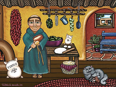 Saint Of Cooks Painting - San Pascuals Kitchen by Victoria De Almeida