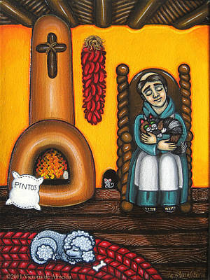 Saint Of Cooks Painting - San Pascuals Nap by Victoria De Almeida