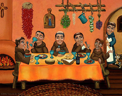 Saint Of Cooks Painting - San Pascuals Table by Victoria De Almeida