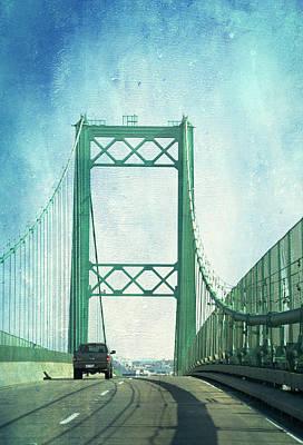 Digital Art - San Pedro Ca Road Bridge Textured by Thomas Woolworth