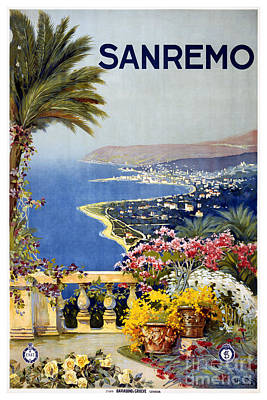San Remo - Travel Poster For Enit - 1920 Art Print by Pablo Romero