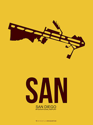 San Diego Mixed Media - San San Diego Airport Poster 1 by Naxart Studio