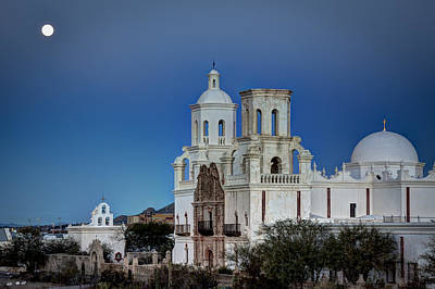 Photograph - San Xavier Del Bac At Moonset 1 by J Gregory Sherman