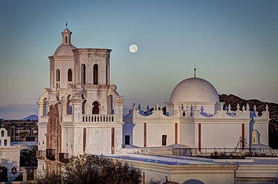 Photograph - San Xavier Del Bac At Moonset 2 by J Gregory Sherman