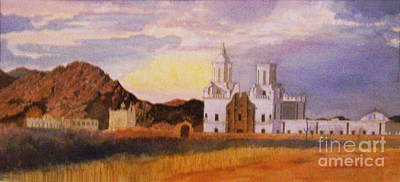 Painting - San Xavier Del Bac Mission by Ron Bowles