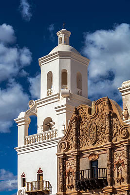 Photograph - San Xavier Tower And Artwork by Ed Gleichman