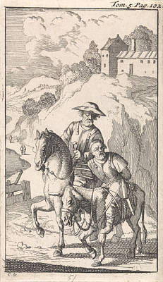 Sancho Is Tied Up By His Master On A Donkey Art Print
