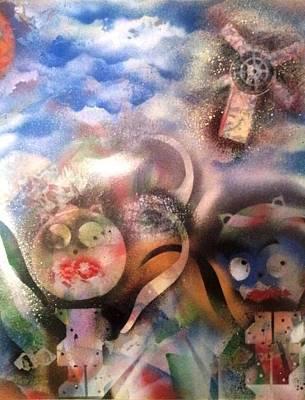 Abstract Windmill Painting - Sancho Pancho by Naomi Sampson