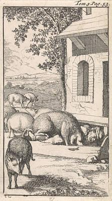 Sancho Sleeping In A Pig Trough Before A Farm Art Print