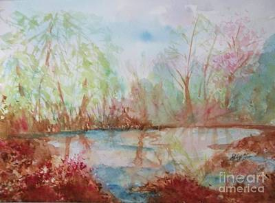 Reflections Of Sky In Water Painting - Sanctuary by Ellen Levinson