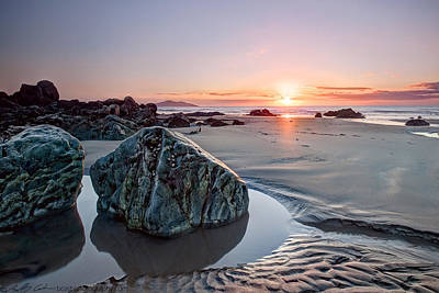 Photograph - Sand And Rock Sunset by Beverly Cash