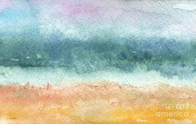 Abstract Beach Landscape Painting - Sand And Sea by Linda Woods