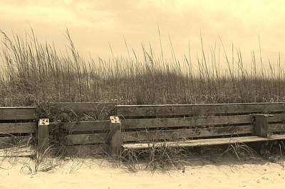 Whimsical Photograph - Sand Bench In Sepia by Cathy Lindsey