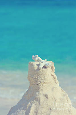 Sand Castle With Coral Against Calm Turquoise Sea 2 Print by Beverly Claire Kaiya