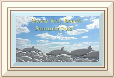 Photograph - Sand Dolphins - Digitally Framed by Susan Molnar