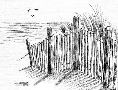 Sand Fences Drawing - Sand Dune by Al Intindola
