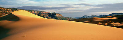 Coral Pink Sand Dunes Photograph - Sand Dunes In A Desert At Dusk, Coral by Panoramic Images