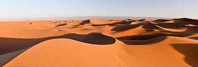 Sahara Sunlight Photograph - Sand Dunes In A Desert, Erg Chigaga by Panoramic Images