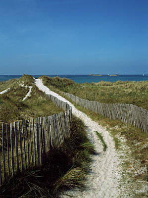 Sand Fences Photograph - Sand Dunes On Beach, Abers Coast by Panoramic Images