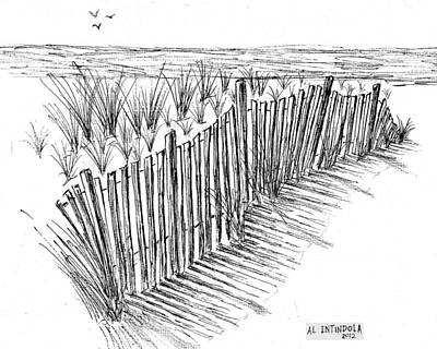 Drawing - Sand Fence by Al Intindola