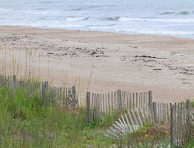 Houses Photograph - Sand Fence At Atlantic Beach by Cathy Lindsey