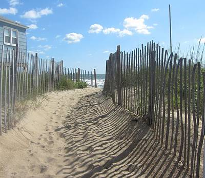 Sand Art Photograph - Sand Fence At Southern Shores  by Cathy Lindsey