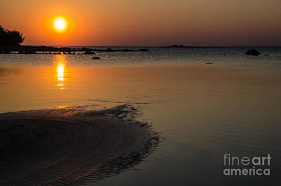 Photograph - Sand Formations At Sunset At A Calm Bay by Kennerth and Birgitta Kullman