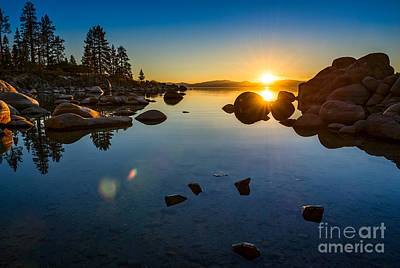 Rocks Photograph - Sand Harbor Sunset by Jamie Pham