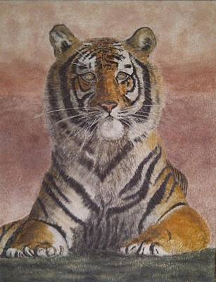 Sand Painting Of A Bengal Tiger Original