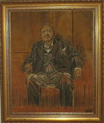 Sand Painting - Portrait Of Sir Winston Churchill Original