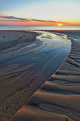 Cape Cod Photograph - Sand Patterns At Sunset On Bound Brook by Jerry and Marcy Monkman