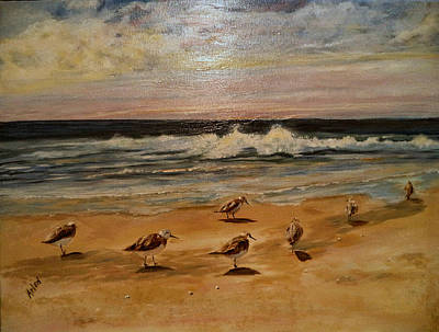 Painting - Sand Pipers by Arlen Avernian Thorensen