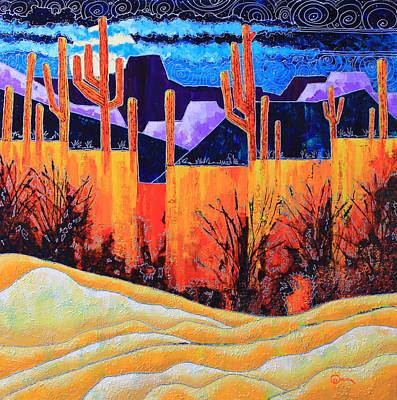 Sand Saguaro And Moon Art Print by Greg Chapman