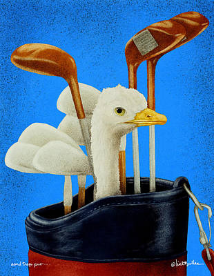 Ostrich Painting - Sand Trap Pro... by Will Bullas