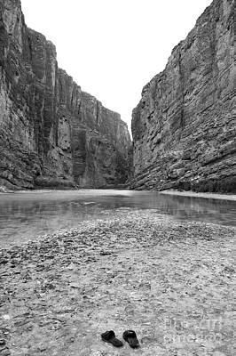 Mexico Digital Art - Sandals In Santa Elena Canyon Big Bend National Park Texas Black And White by Shawn O'Brien