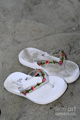 Sandals In The Sand Art Print by Laura Paine