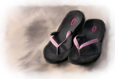 Ipad Mixed Media - Sandals On The Beach by Mary Timman