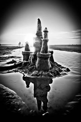 Photograph - Sandcastle In Black And White by Joseph Bowman