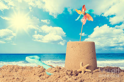Sandcastles Photograph - Sandcastle On Beach by Amanda Elwell