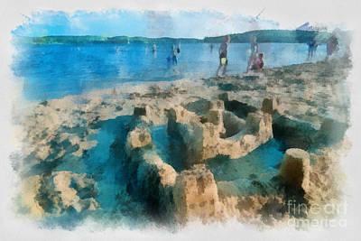 Sandcastle On The Beach Art Print by Amy Cicconi